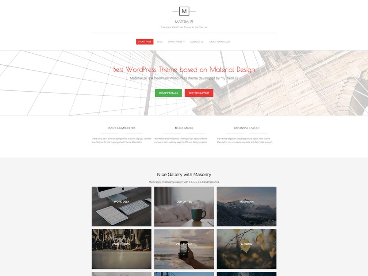 Download Materialize 0.0.21 – Free WordPress Theme