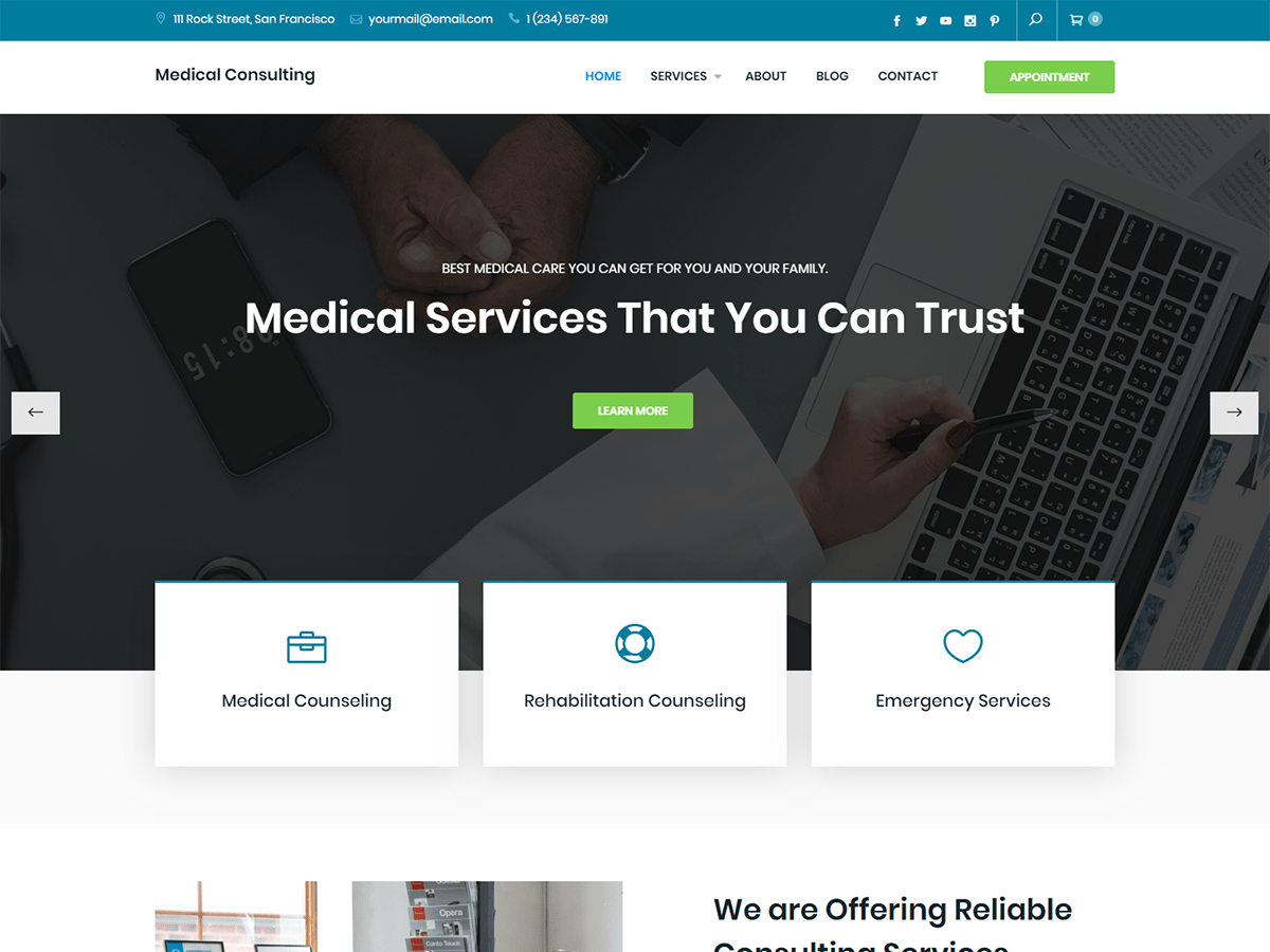 Download Medical Consulting 1.0.0 – Free WordPress Theme