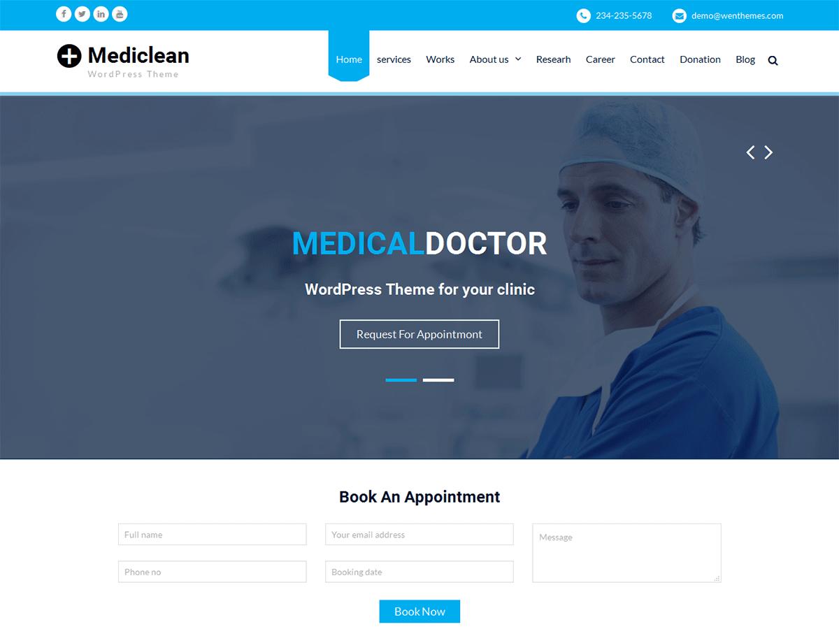 Download Mediclean 1.3.1 – Free WordPress Theme