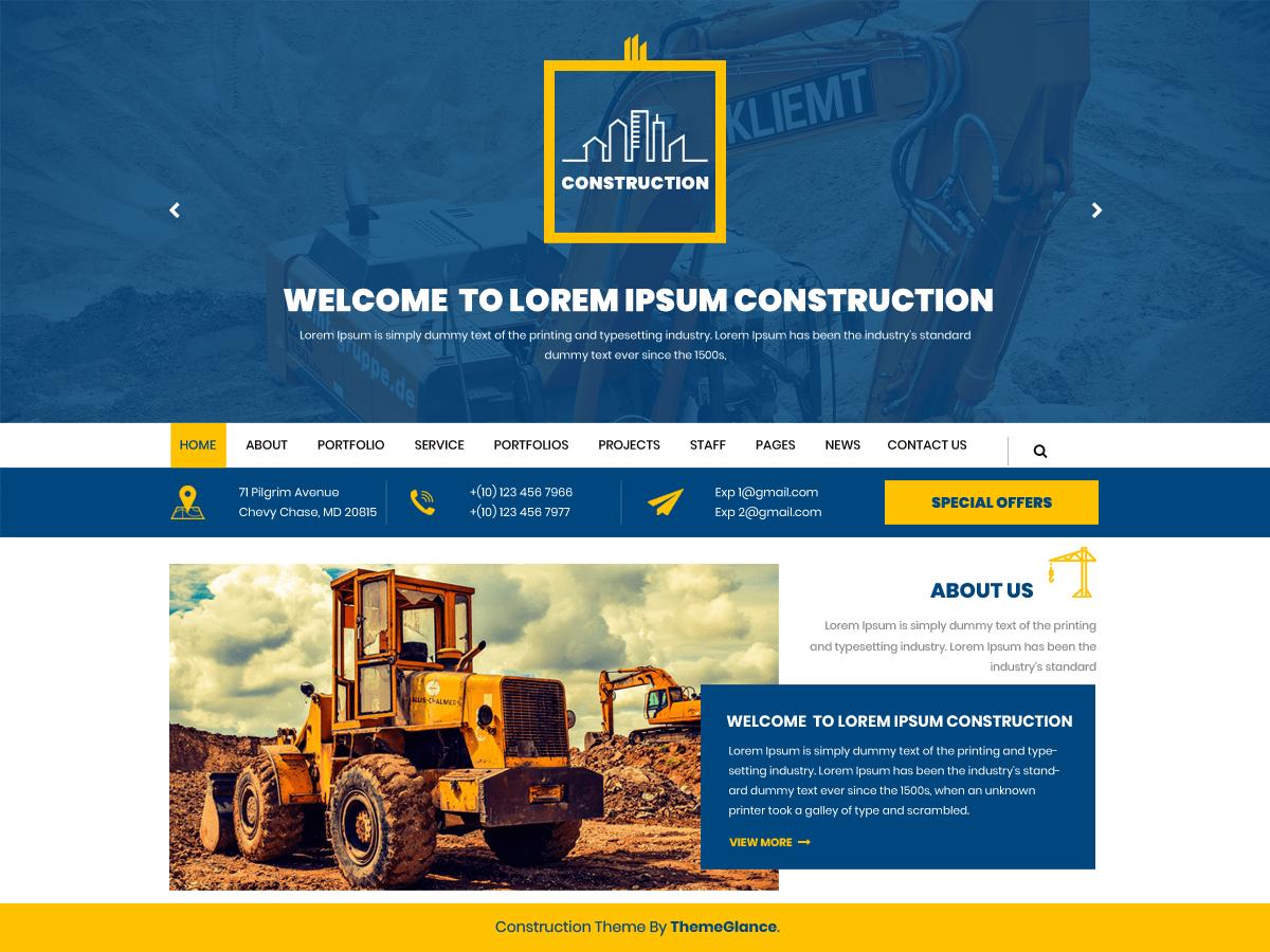Download Mega Construction 0.2.4 – Free WordPress Theme