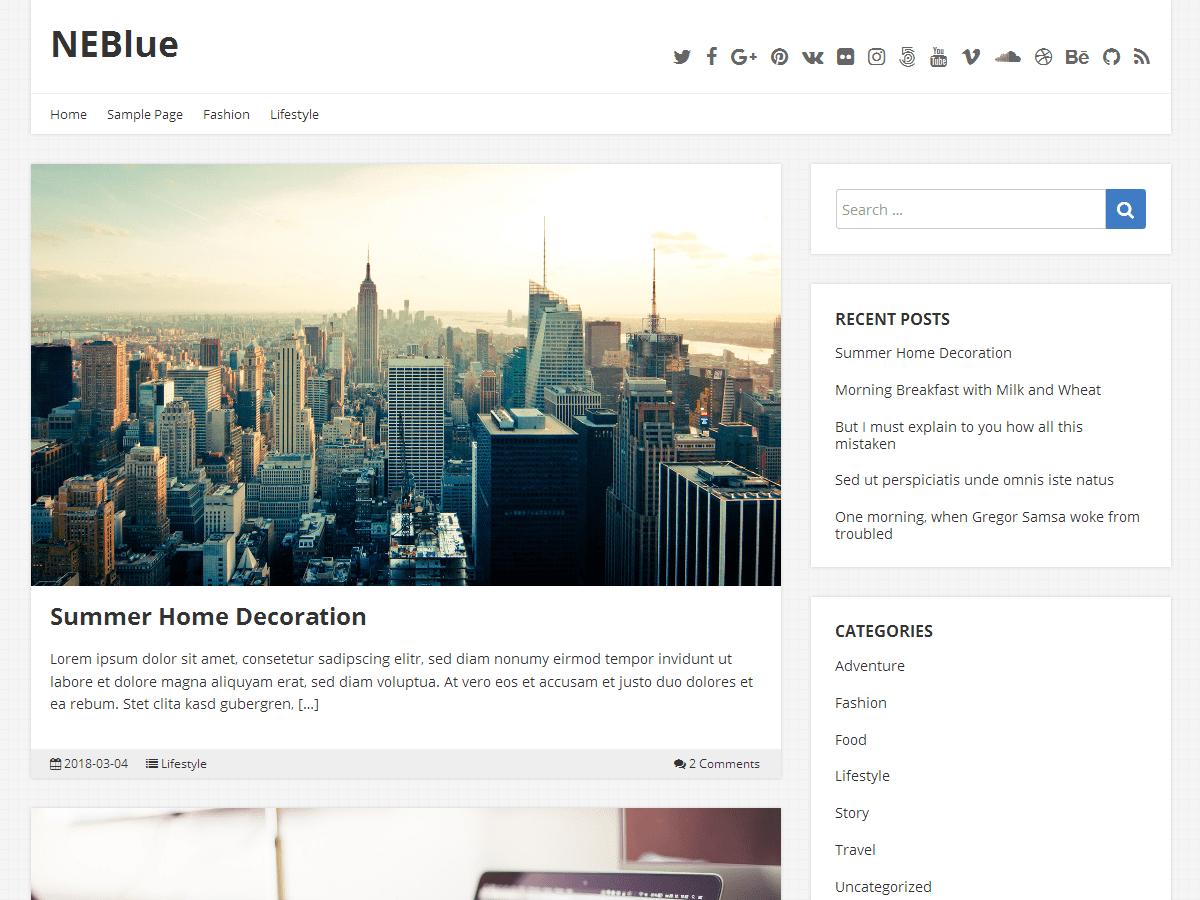 Download NEBlue 1.2.18 – Free WordPress Theme