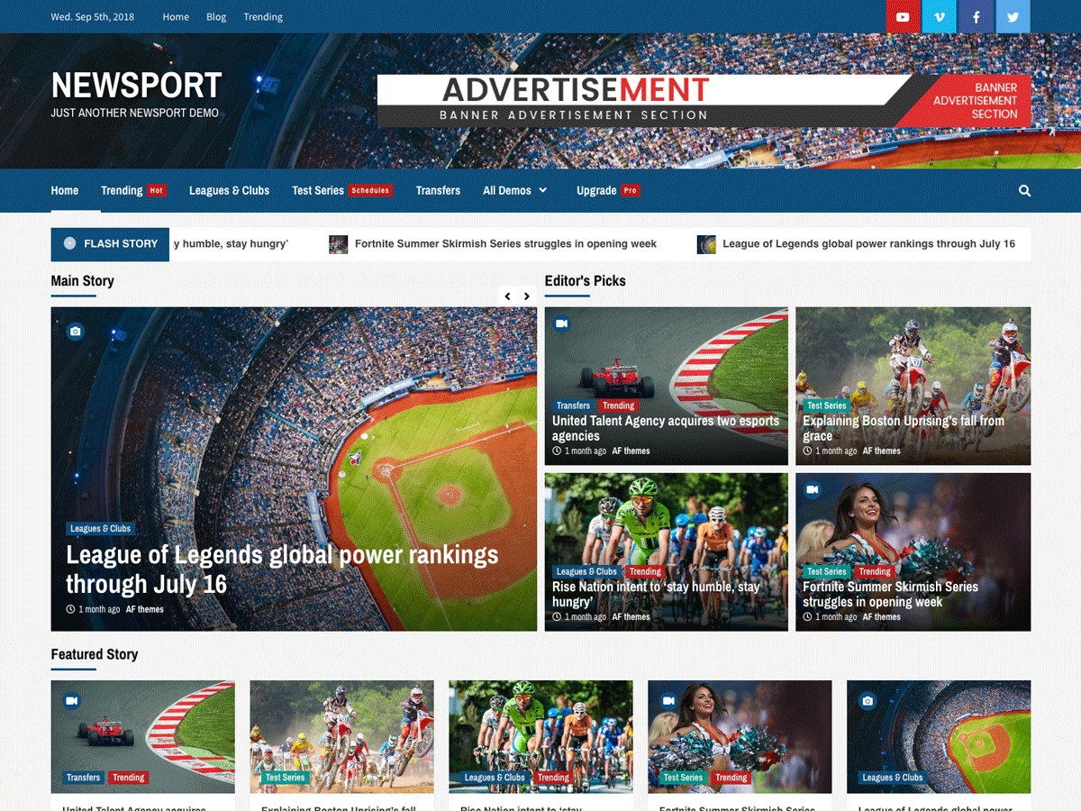 Download Newsport 1.0.1 – Free WordPress Theme