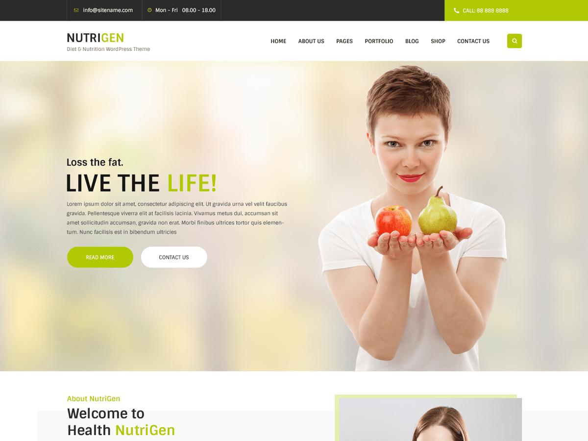 Download Nutrigen 1.3.1 – Free WordPress Theme