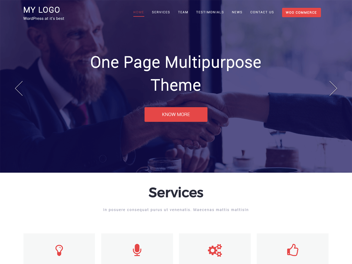 Download One Page Multipurpose 1.0.2 – Free WordPress Theme