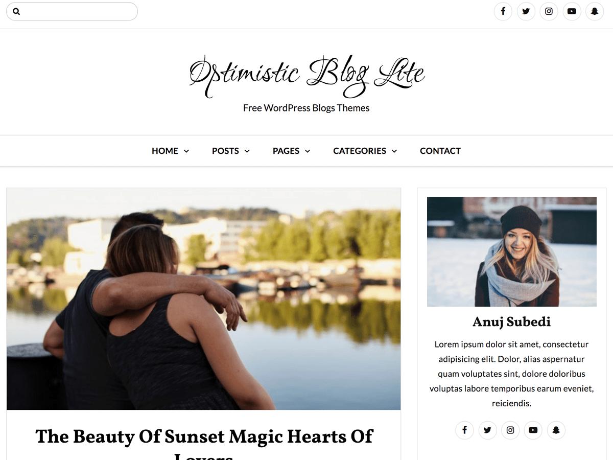 Download Optimistic Blog Lite 1.0.5 – Free WordPress Theme