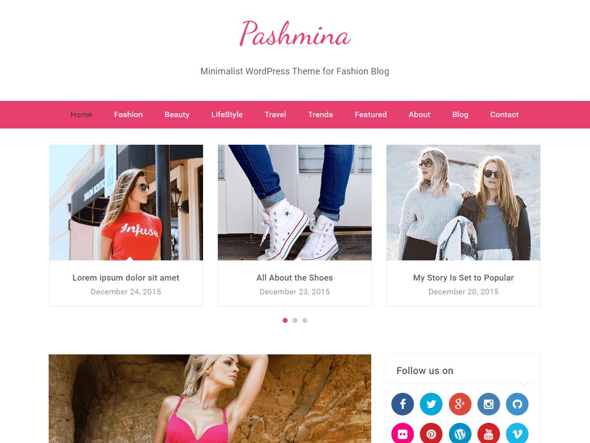 Download Pashmina 1.0.9 – Free WordPress Theme