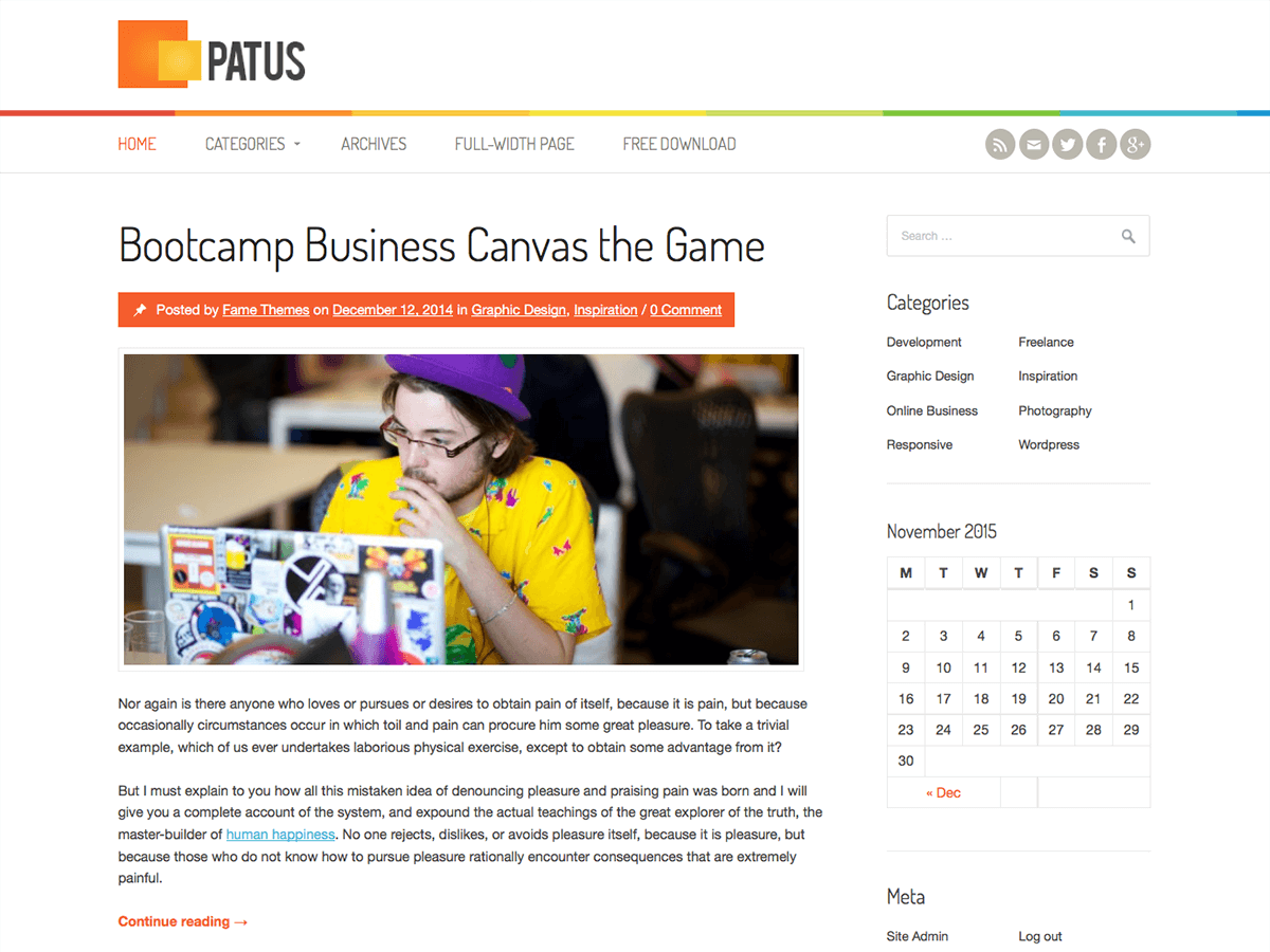 Download Patus 1.0.9 – Free WordPress Theme