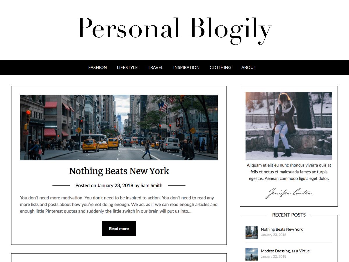 Download Personalblogily 3.4 – Free WordPress Theme