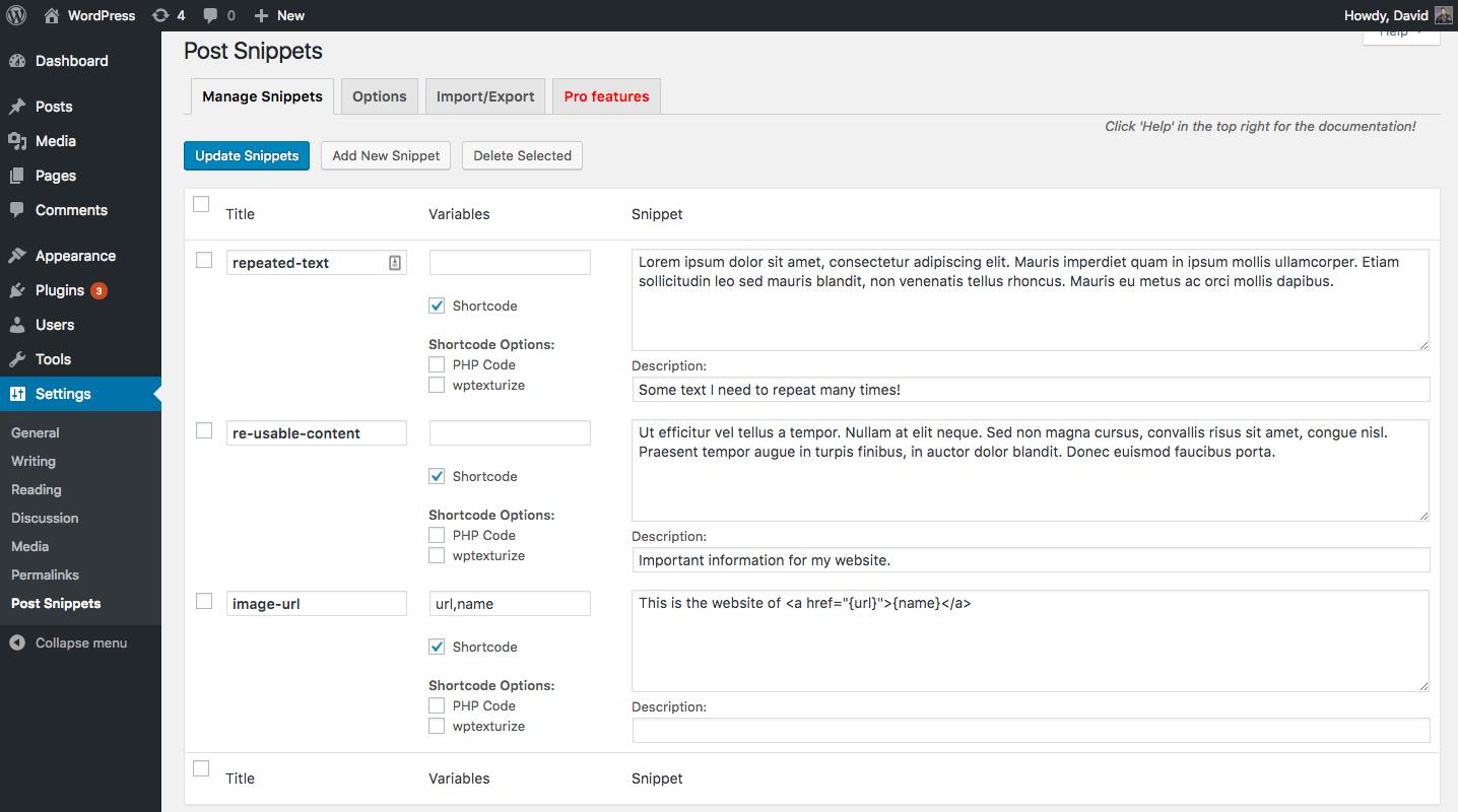 Download Post Snippets 3.0.5 – Free WordPress Plugin