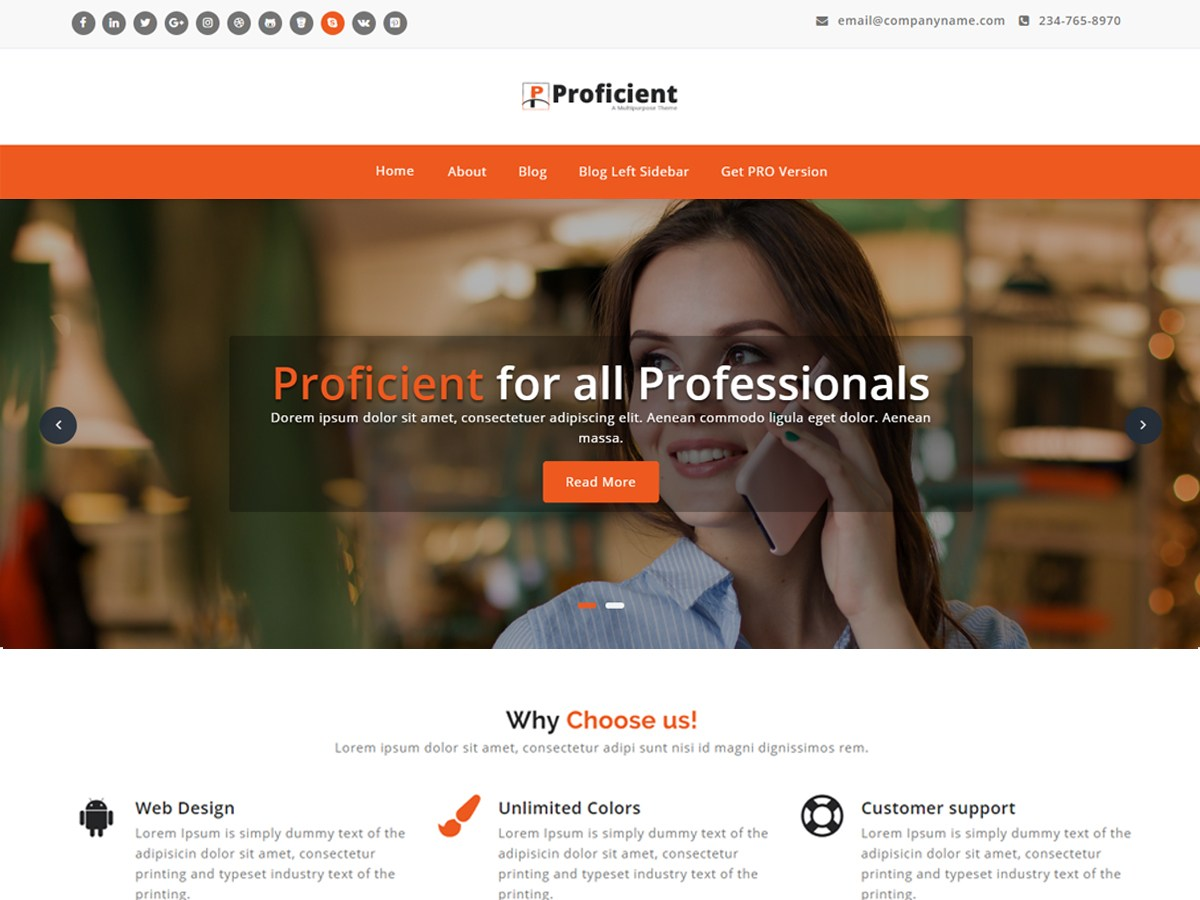 Download Proficient 1.1.54 – Free WordPress Theme