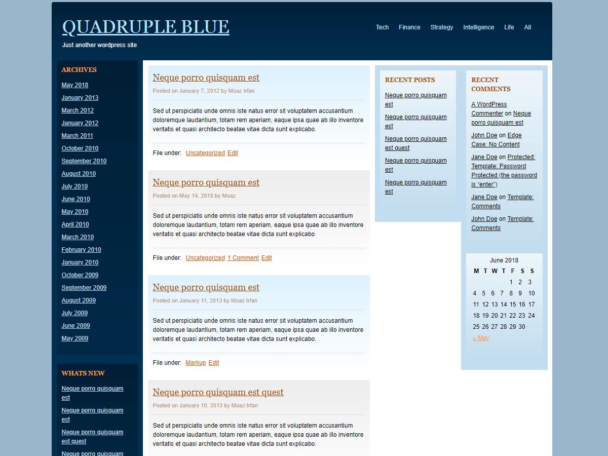 Download Quadruple Blue 3.4 – Free WordPress Theme