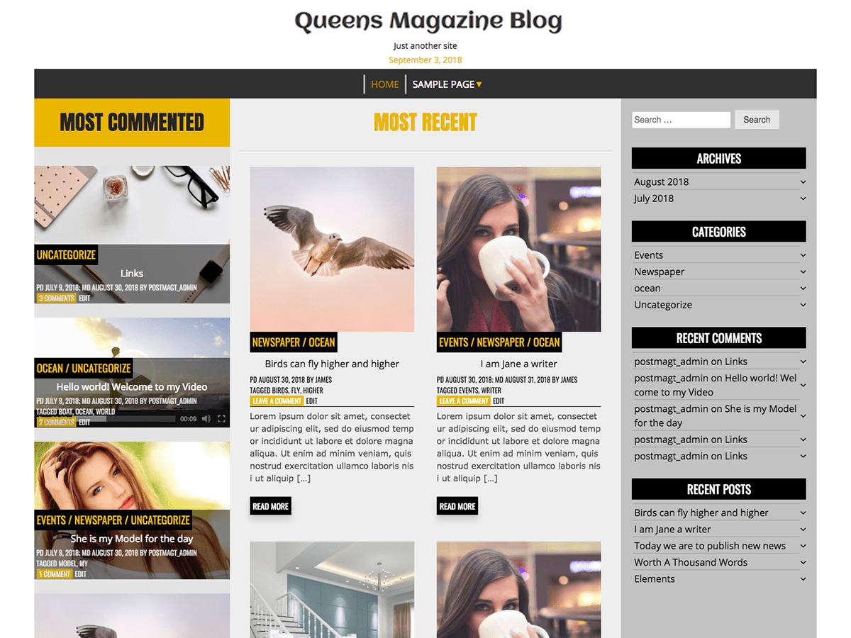 Download Queens Magazine Blog 1.0.8 – Free WordPress Theme