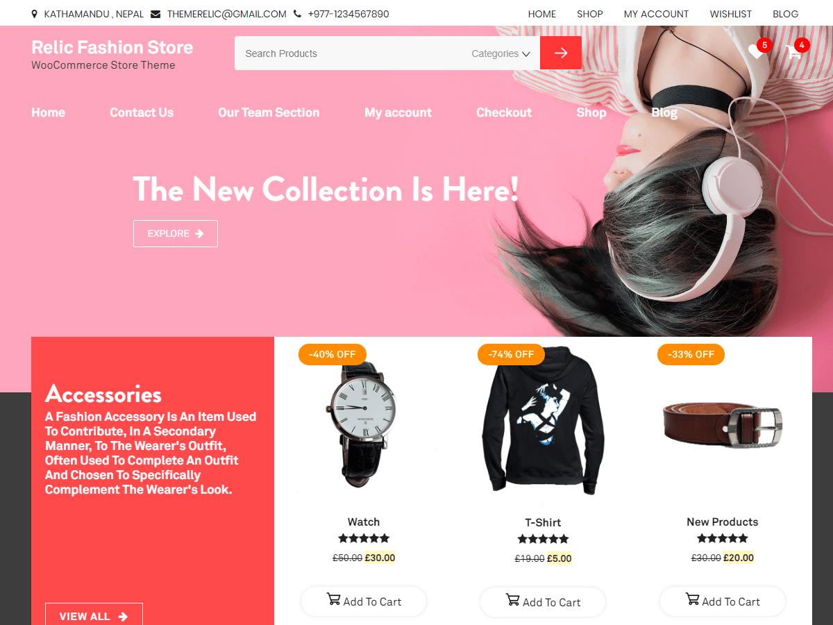 Download Relic Fashion Store 1.1.1 – Free WordPress Theme