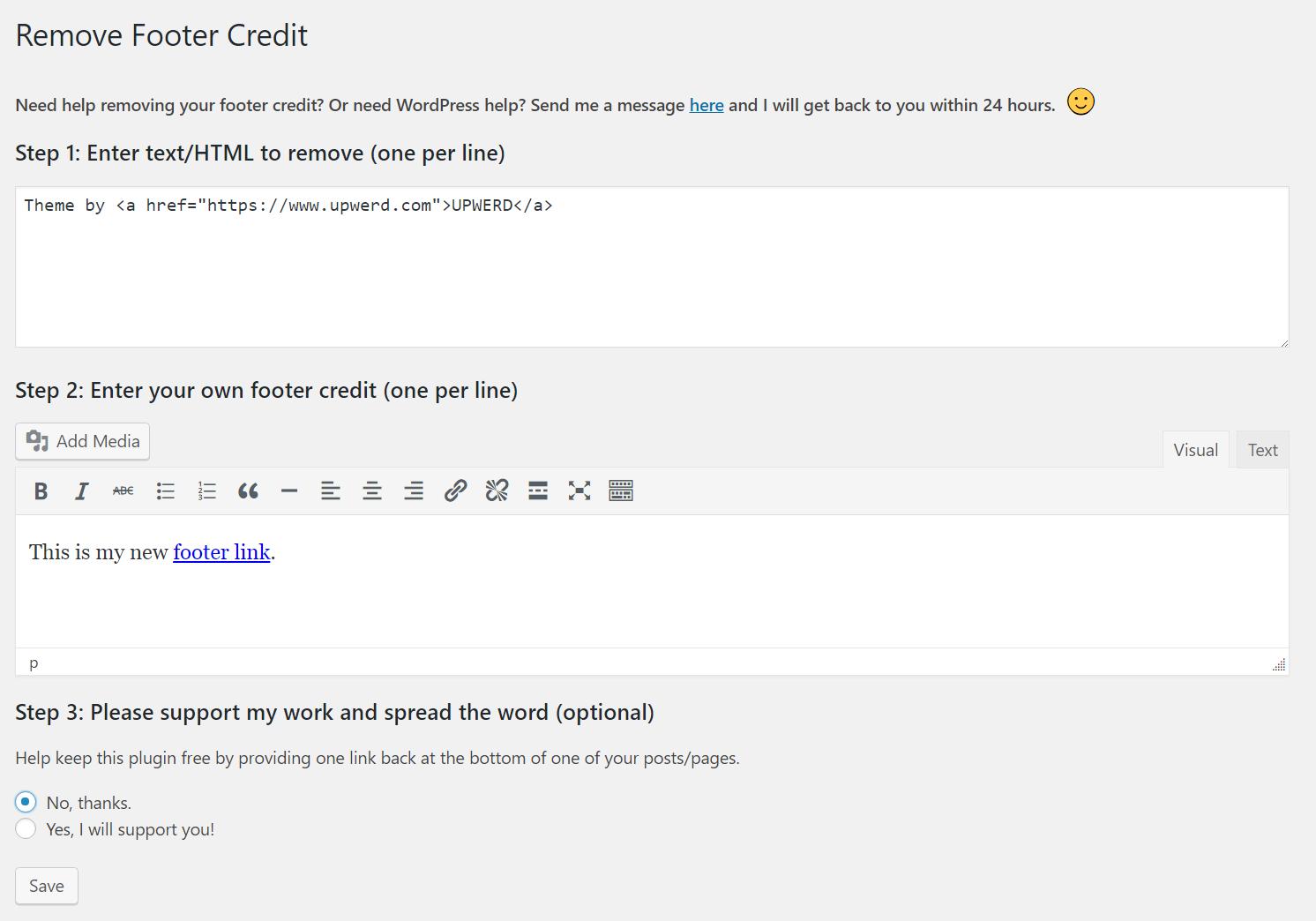 Download Remove Footer Credit 1.0.2 – Free WordPress Plugin