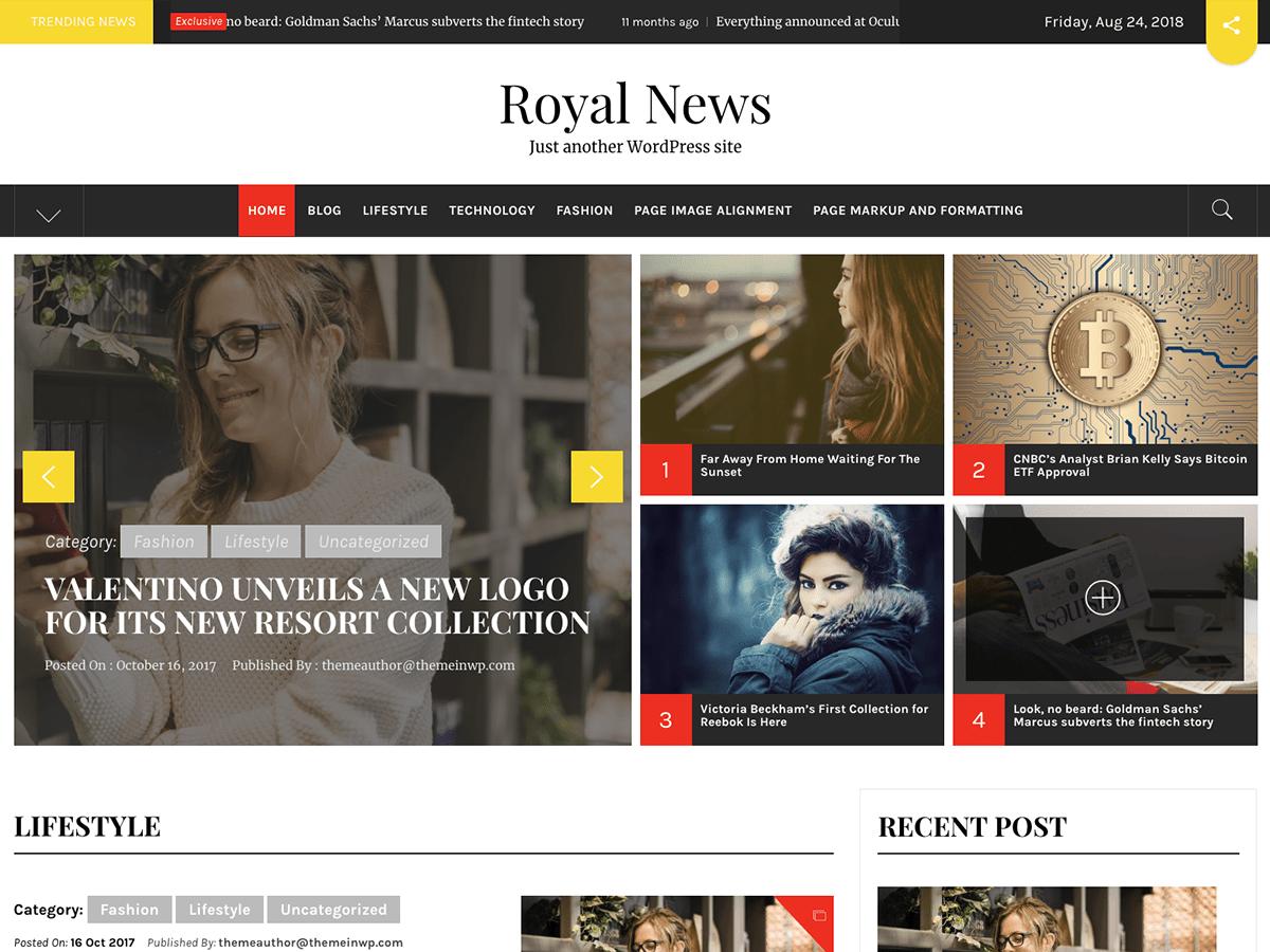 Download Royal News 1.0.0 – Free WordPress Theme