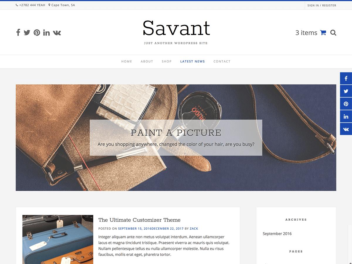 Download Savant 1.0.3 – Free WordPress Theme