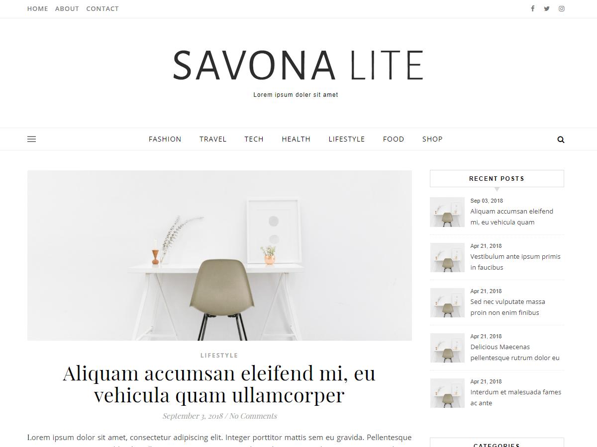 Download Savona Lite 1.0.0 – Free WordPress Theme