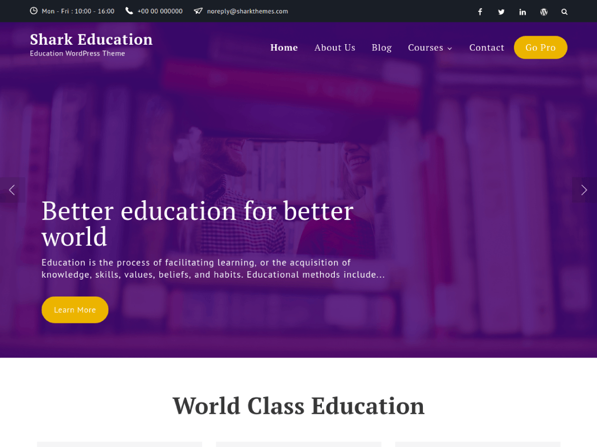 Download Shark Education 1.0.0 – Free WordPress Theme