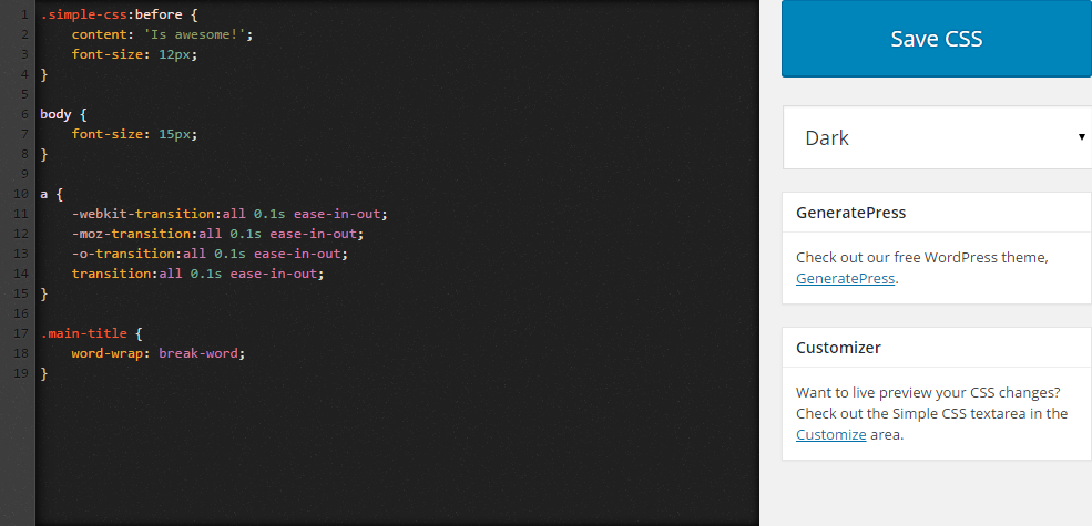 Download Simple CSS 1.1 – Free WordPress Plugin