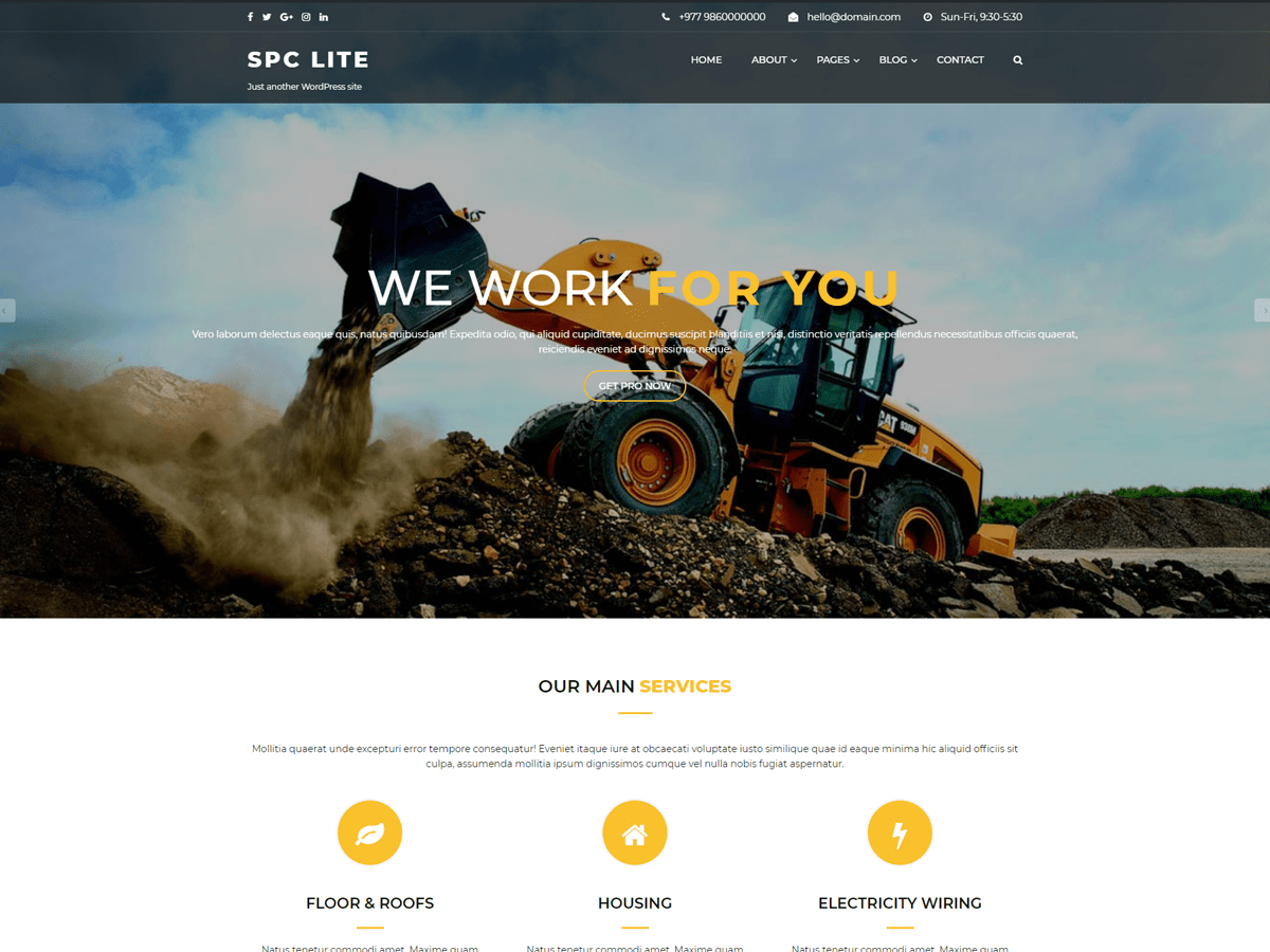 Download Spark Construction Lite 1.0.4 – Free WordPress Theme