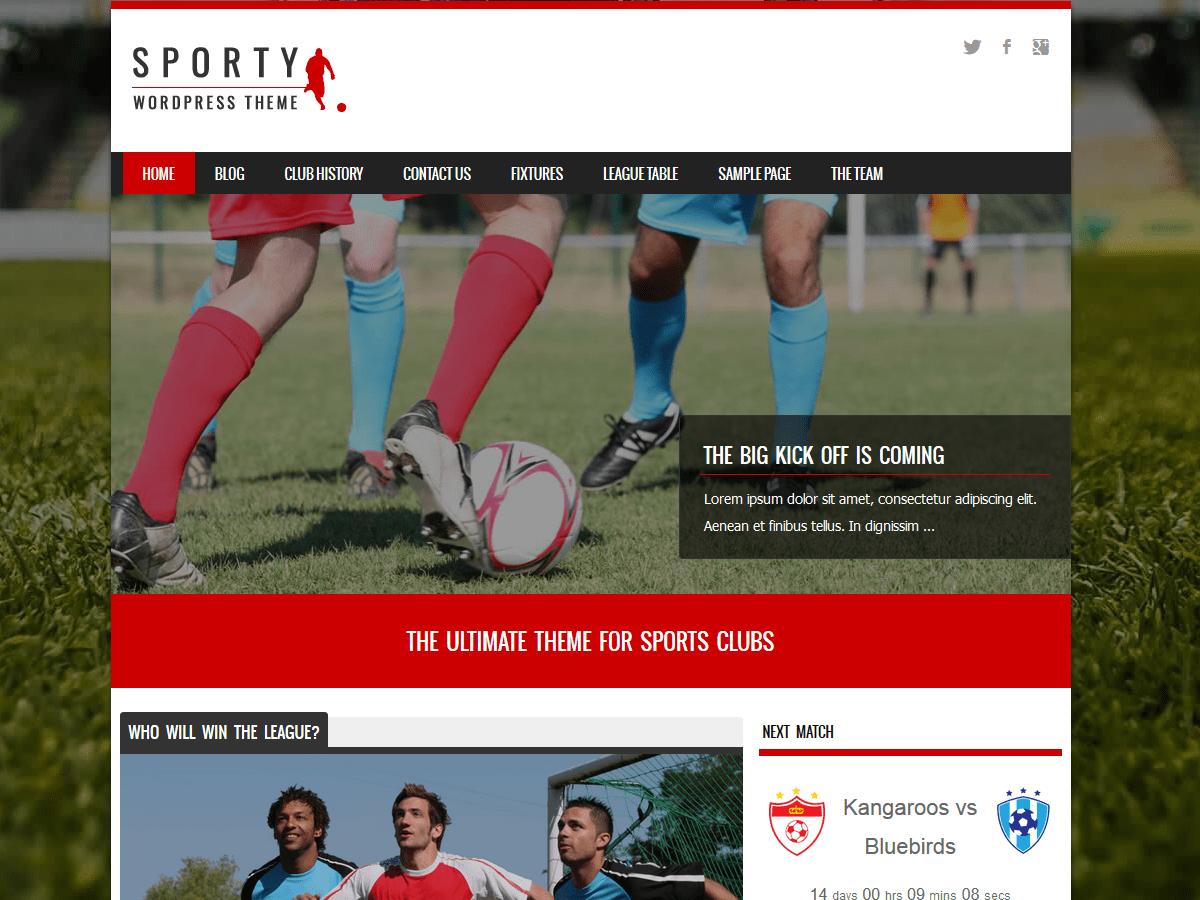 Download Sporty 1.8.8 – Free WordPress Theme