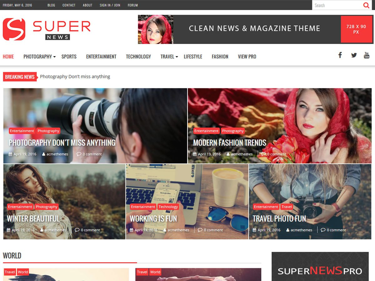 Download SuperNews 1.2.2 – Free WordPress Theme