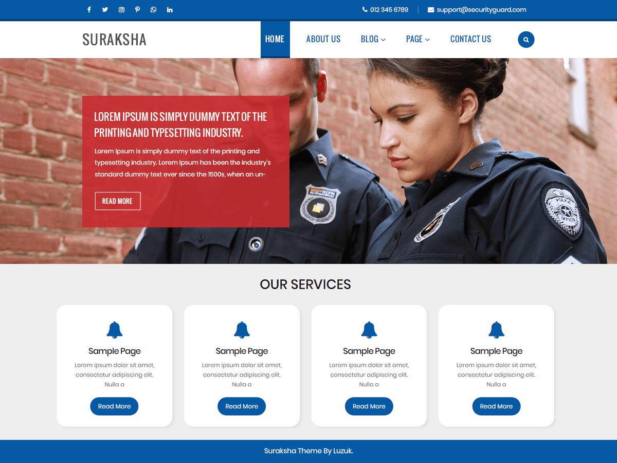 Download Suraksha Security Guard 0.1 – Free WordPress Theme