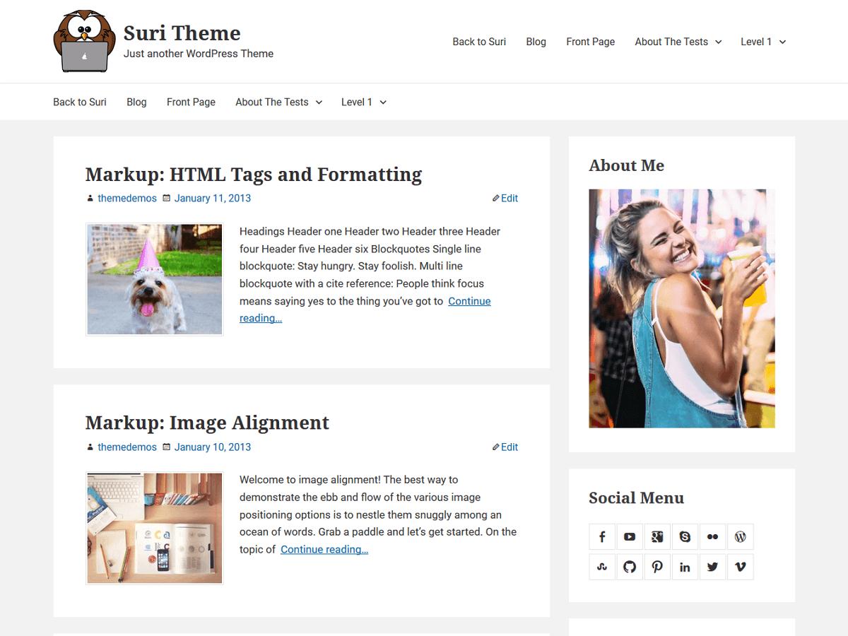 Download Suri 0.2.6 – Free WordPress Theme