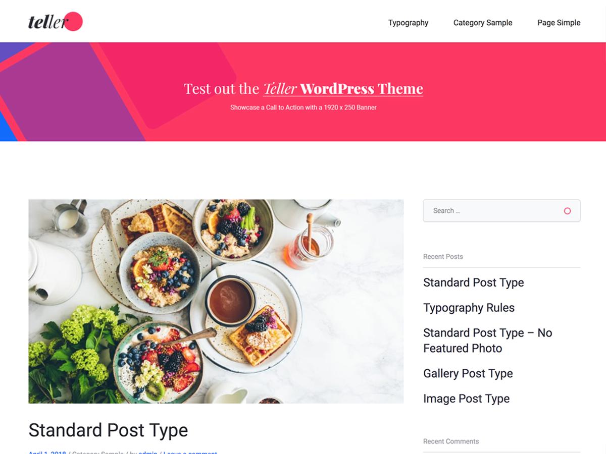 Download Teller 2.0.1 – Free WordPress Theme