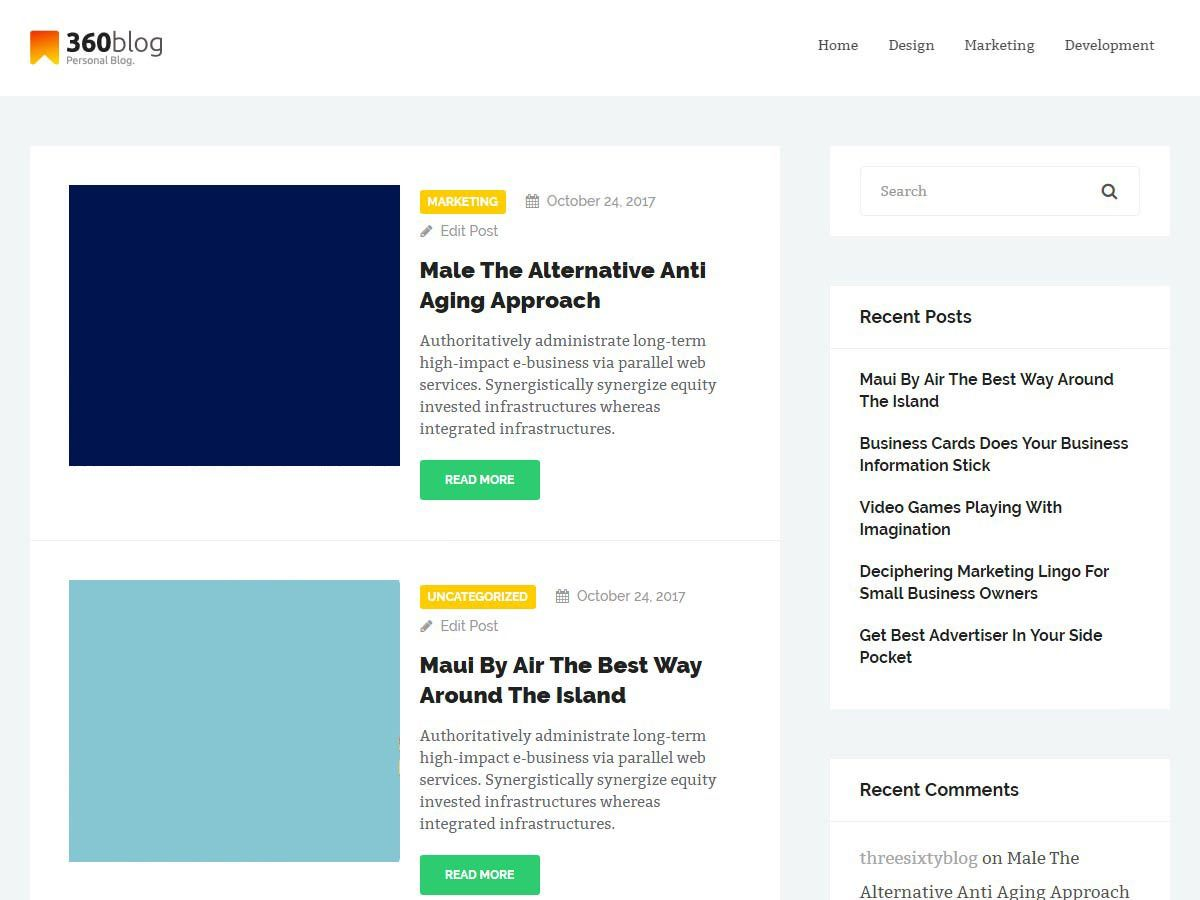 Download ThreeSixtyBlog Lite 1.6.4 – Free WordPress Theme