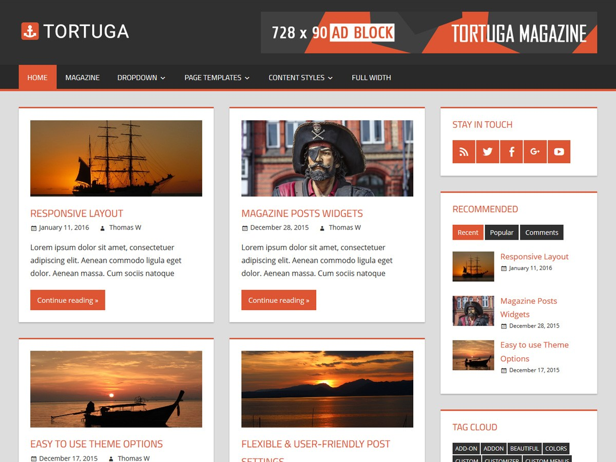 Download Tortuga 1.6 – Free WordPress Theme