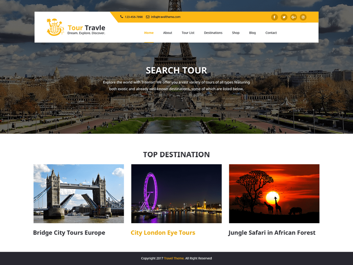 Download Tours and Travels 0.1.2 – Free WordPress Theme