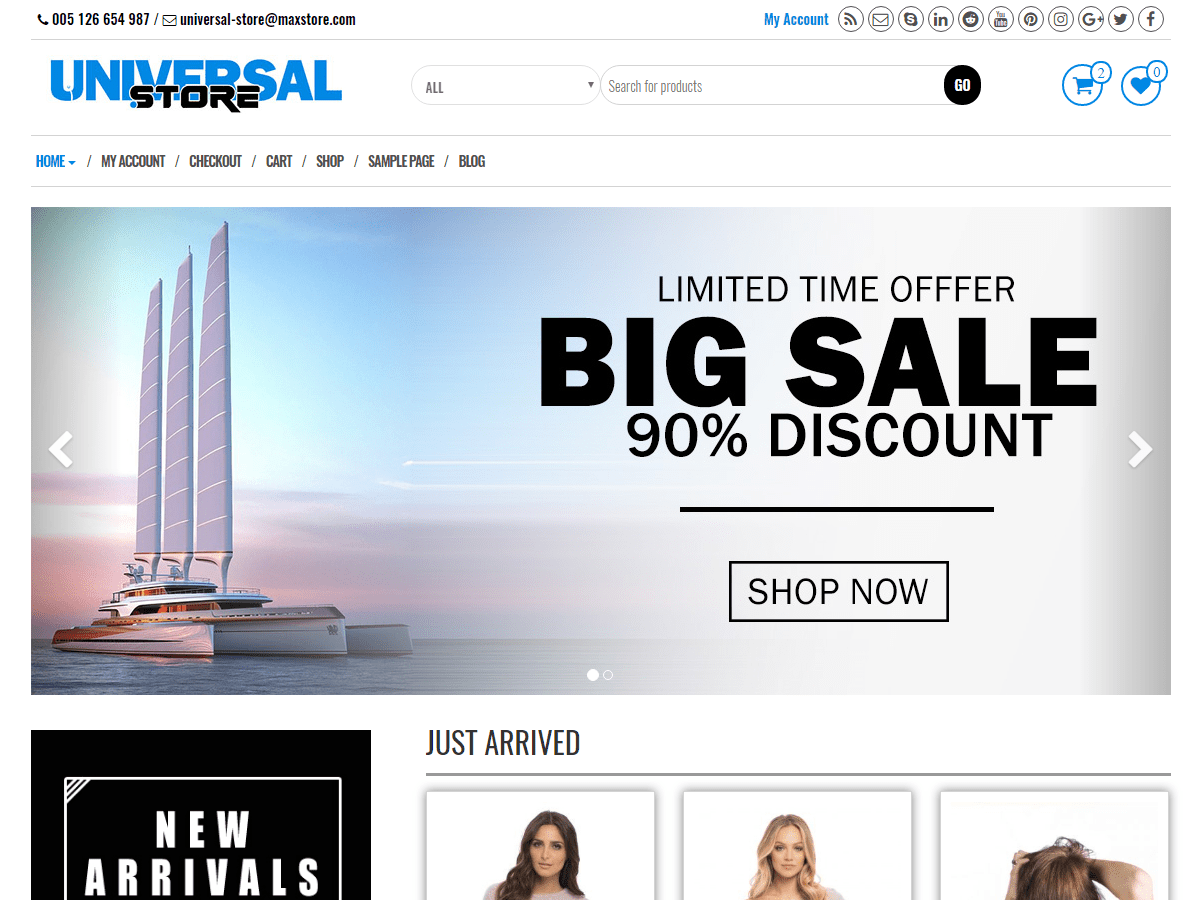 Download Universal Store 1.0.4 – Free WordPress Theme