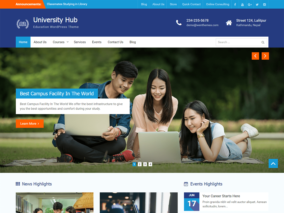 Download University Hub 1.0.8 – Free WordPress Theme