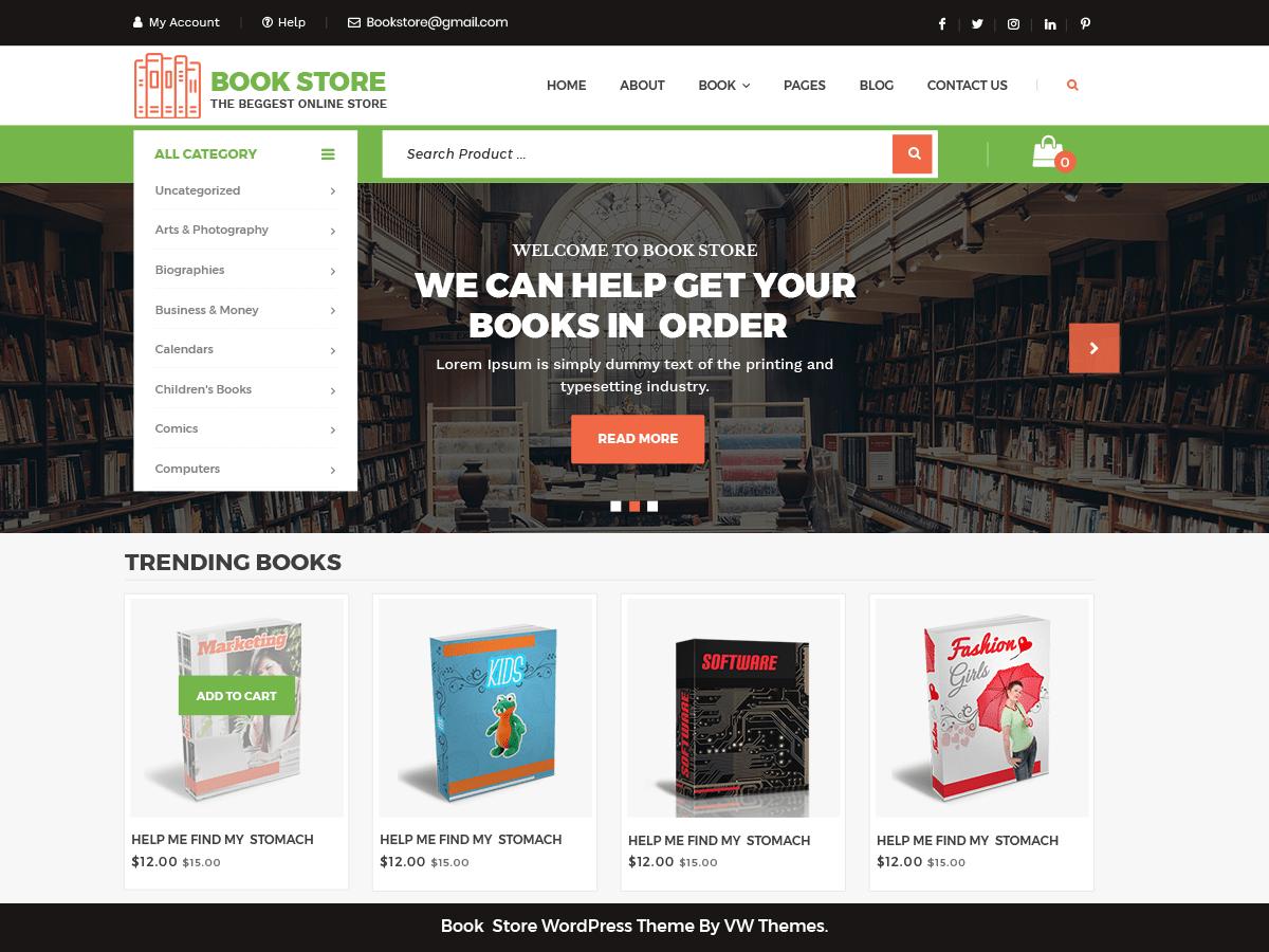 Download VW Book Store 0.1 – Free WordPress Theme