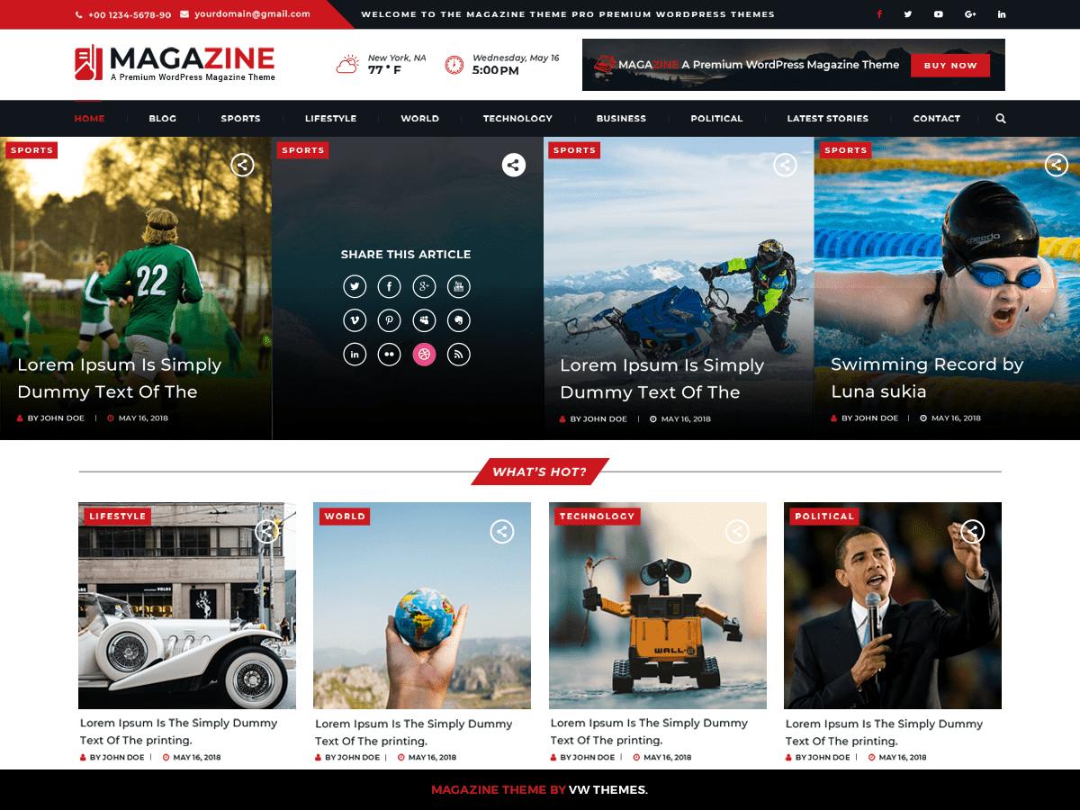 Download VW Magazine 0.2 – Free WordPress Theme
