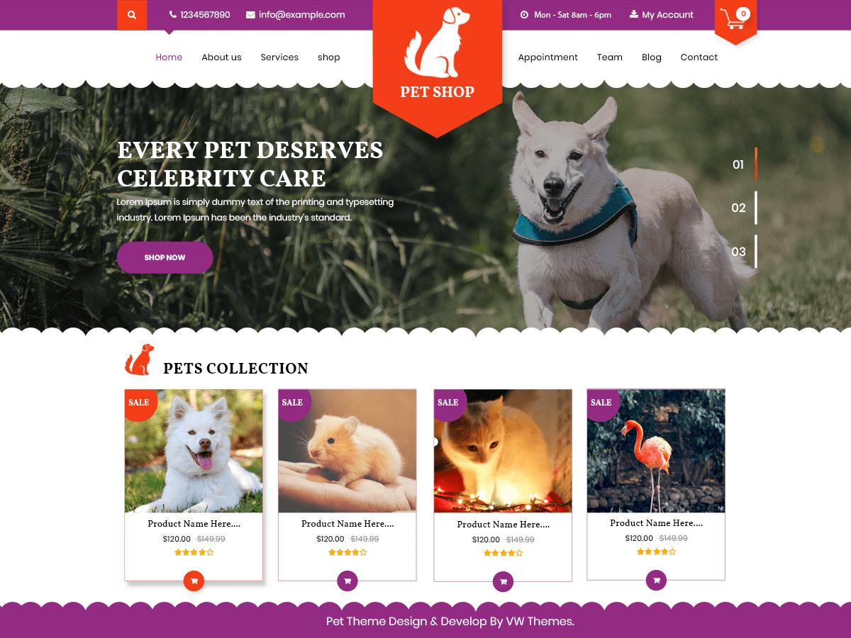 Download VW Pet Shop 0.3 – Free WordPress Theme