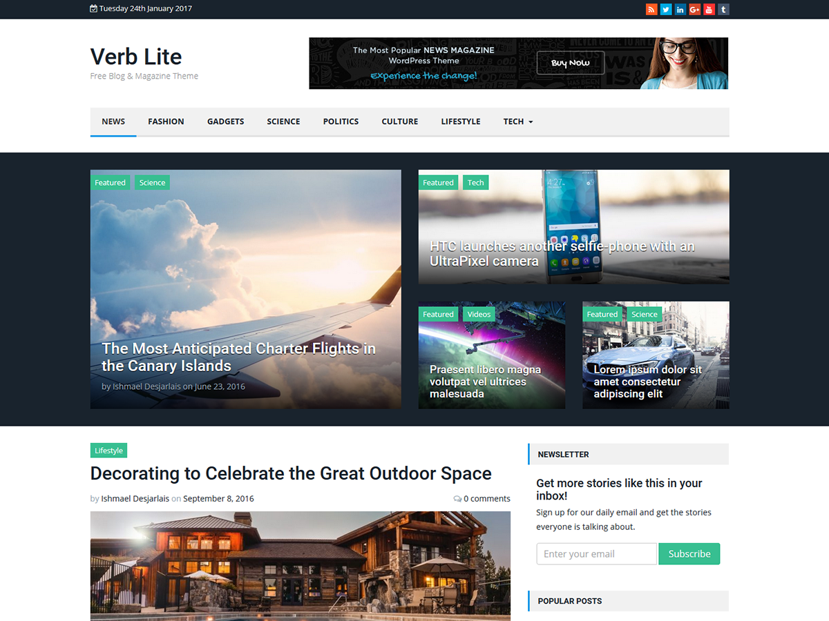 Download Verb Lite 1.1.6 – Free WordPress Theme