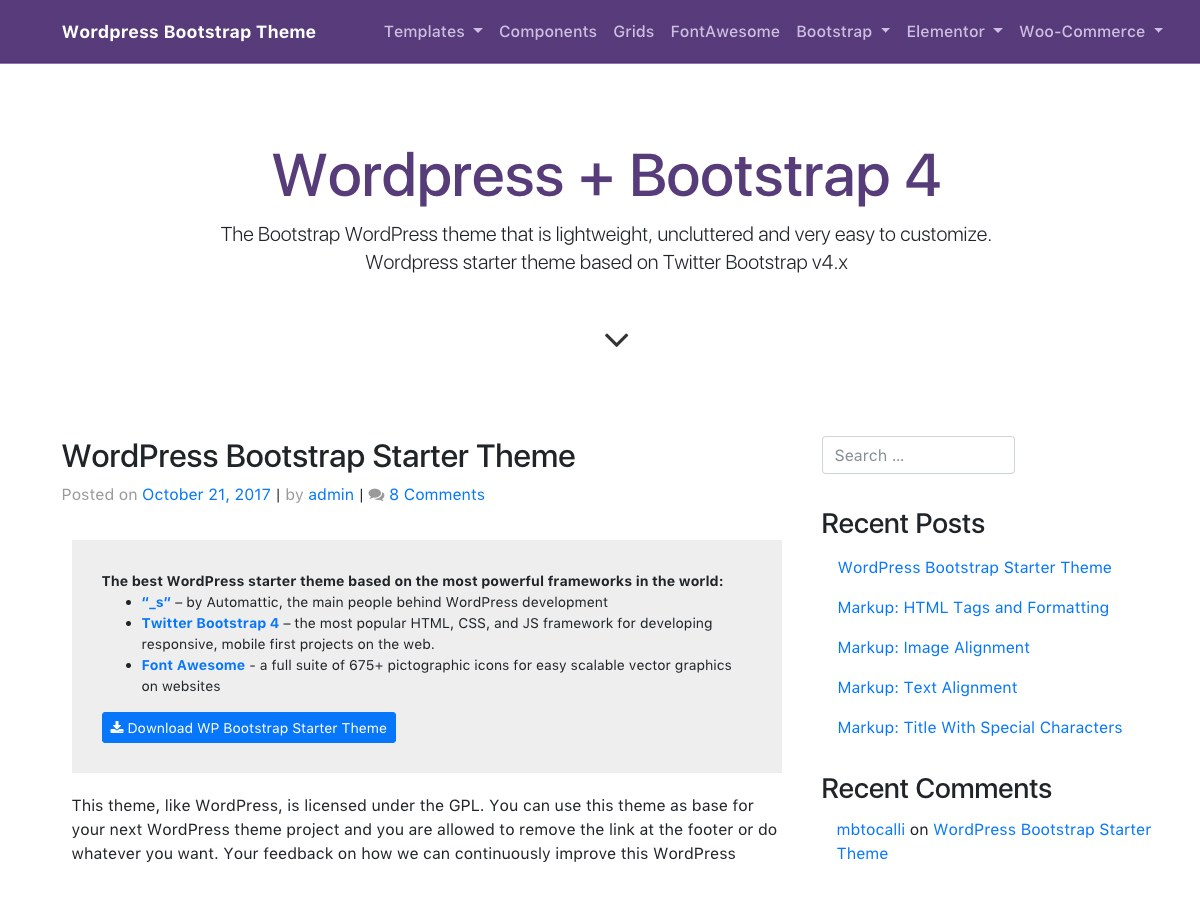 Download WP Bootstrap Starter 3.1.0 – Free WordPress Theme