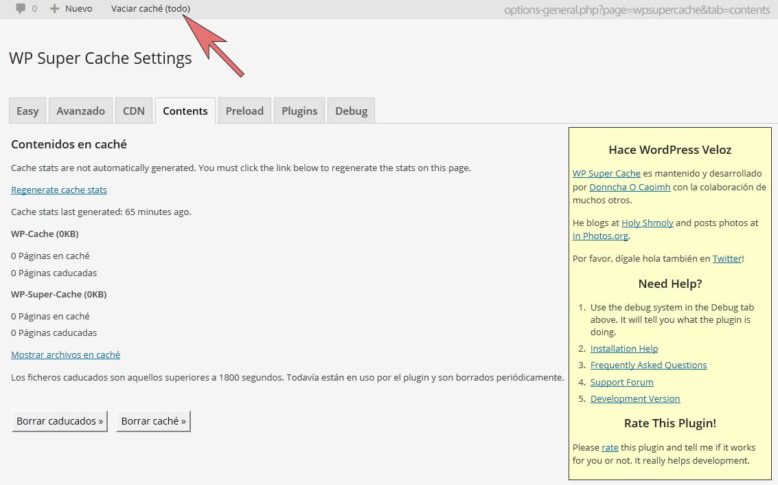 Download WP Super Cache – Clear all cache 1.4 – Free WordPress Plugin