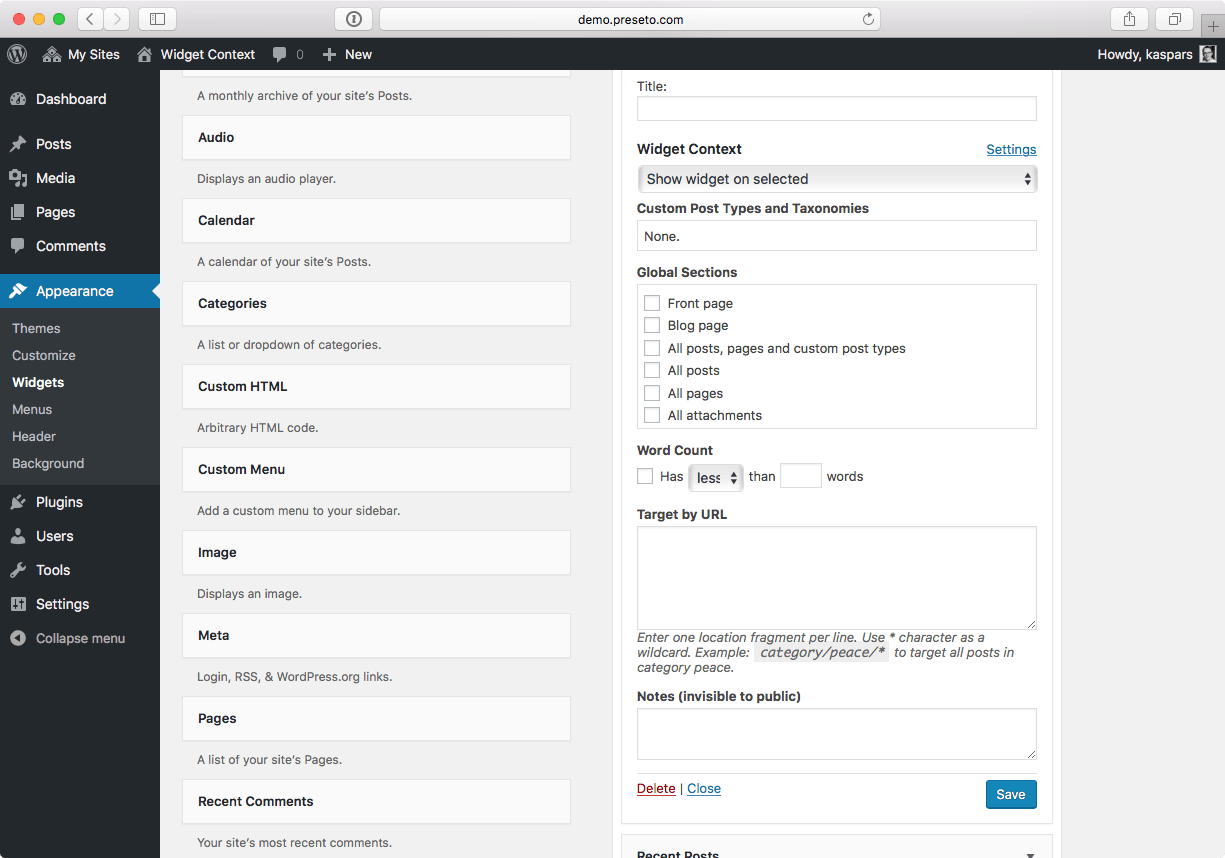 Download Widget Context 1.1.0 – Free WordPress Plugin