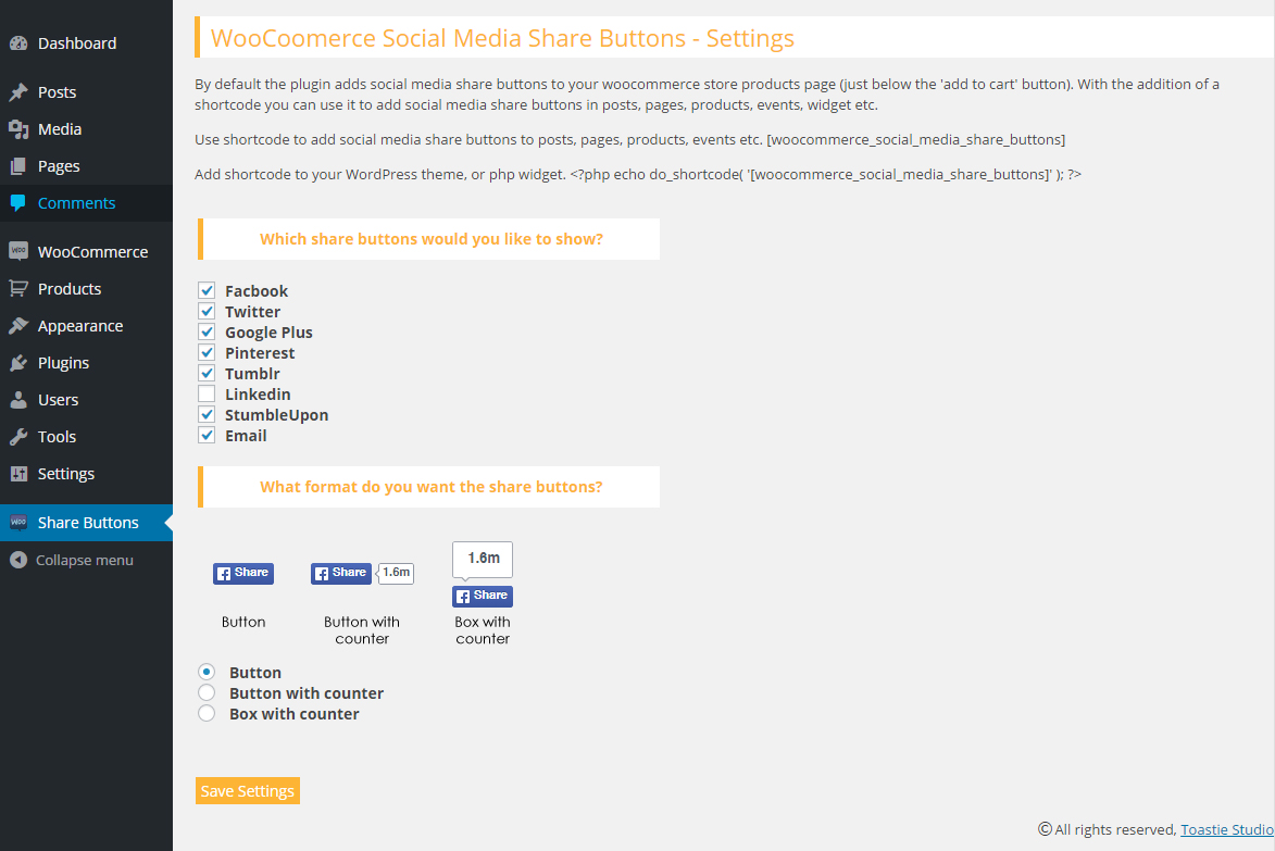 Download Woocommerce Social Media Share Buttons 1.3.0 – Free WordPress Plugin