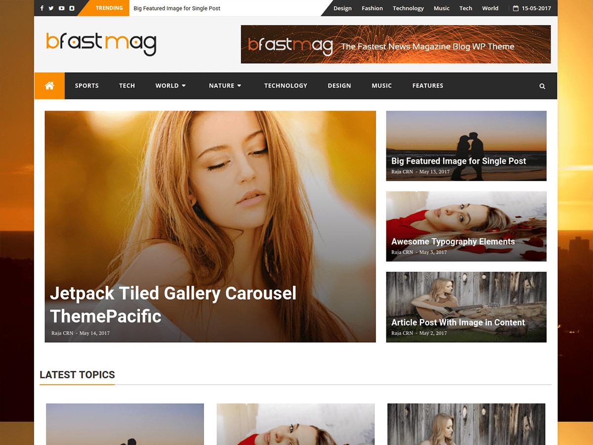 Download bFastMag 2.1 – Free WordPress Theme