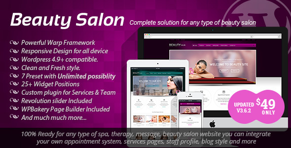 Download Beauty Salon v.3.6.2 - Responsive WordPress Template Free
