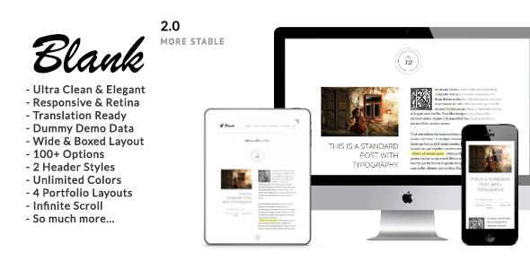 Download Blank v.2.5 - Elegant Minimalist WordPress Blog Theme Free