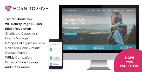 Download Born To Give - Charity Crowdfunding Responsive WordPress Theme Free