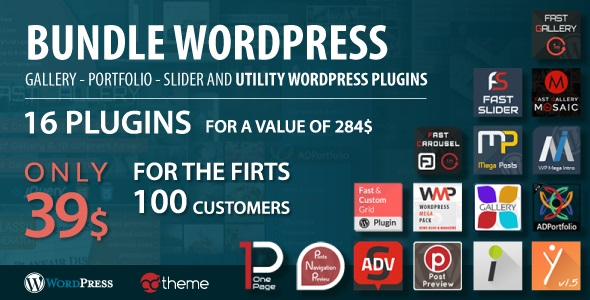 Download Bundle WordPress gallery, portfolio, slider and utility WordPress plugins  - Free Wordpress Plugin
