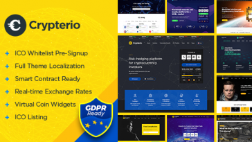 Download Crypterio - ICO Landing Page and Cryptocurrency WordPress Theme Free