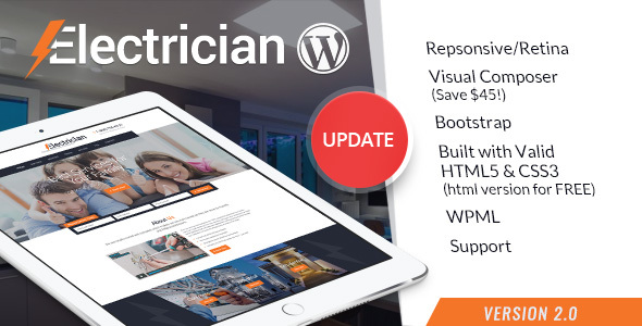 Download Electrician v.3.4. - Electricity Services WordPress Theme Free