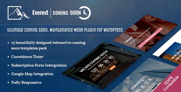 Download Everest Coming Soon Ultimate Coming Soon, Maintenance Mode Plugin for WordPress - Free Wordpress Plugin